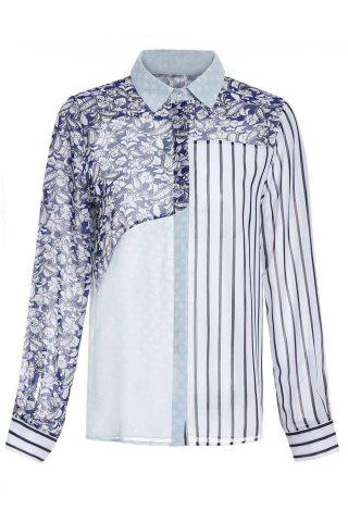 Trendy Chic Shirt Collar Long Sleeve Geometric Print Spliced Women's Shirt