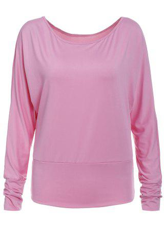 Online Stylish Skew Neck Long Batwing Sleeve Solid Color Women's T-Shirt