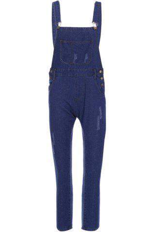 Outfits Casual Style Solid Color Straight Leg Women's Denim Overalls - S BLUE Mobile