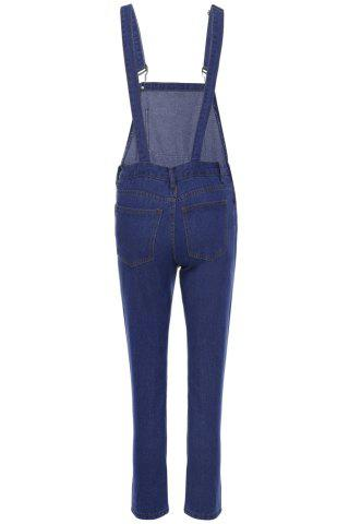 Hot Casual Style Solid Color Straight Leg Women's Denim Overalls - S BLUE Mobile