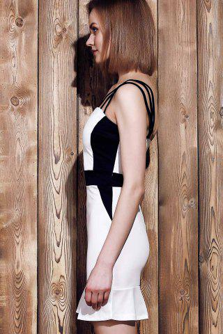 Outfits Sexy Spaghetti Strap Sleeveless Spliced Hit Color Women's Dress - S WHITE Mobile