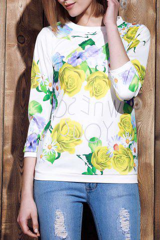 Chic Sweet Various Colorful Floral Printed 3/4 Sleeve Sweatshirt For Women YELLOW S