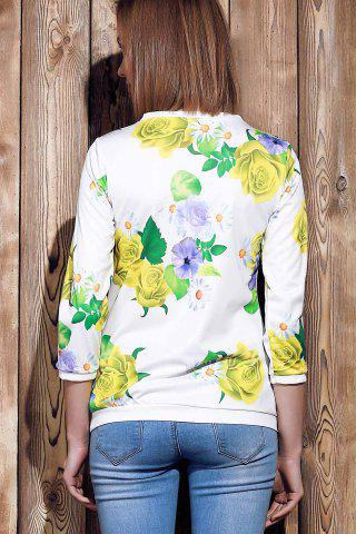 Sale Sweet Various Colorful Floral Printed 3/4 Sleeve Sweatshirt For Women - M YELLOW Mobile