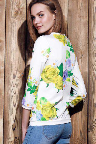 Cheap Sweet Various Colorful Floral Printed 3/4 Sleeve Sweatshirt For Women - M YELLOW Mobile