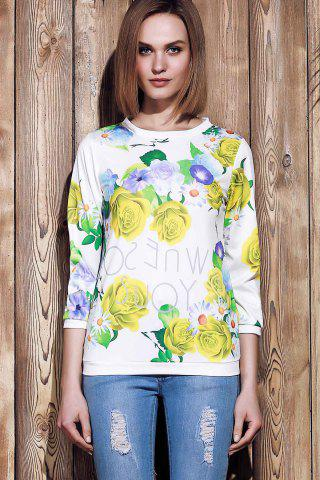 Hot Sweet Various Colorful Floral Printed 3/4 Sleeve Sweatshirt For Women - M YELLOW Mobile