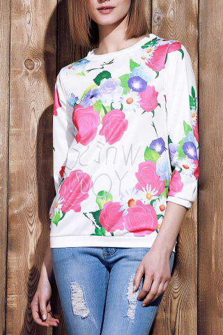 Outfits Sweet Various Colorful Floral Printed 3/4 Sleeve Sweatshirt For Women - S ROSE Mobile