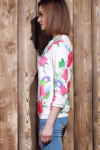 Hot Sweet Various Colorful Floral Printed 3/4 Sleeve Sweatshirt For Women - XL ROSE Mobile