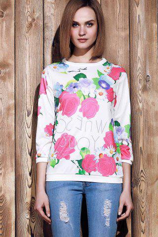 Shop Sweet Various Colorful Floral Printed 3/4 Sleeve Sweatshirt For Women - XL ROSE Mobile
