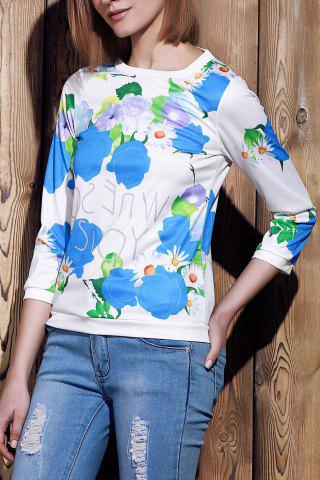 Fashion Sweet Various Colorful Floral Printed 3/4 Sleeve Sweatshirt For Women - M BLUE Mobile