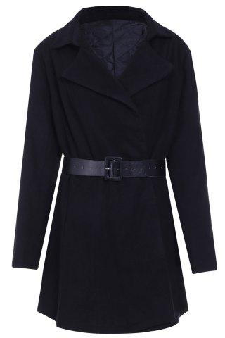 Trendy Stylish Turn-Down Collar Long Sleeve Belted Solid Color Women's Coat