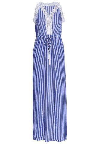 Discount Sleeveless Drawstring Vertical Striped Maxi Dress BLUE S