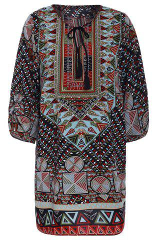 Affordable Women's Fashionable Colorful 3/4 Sleeve Lace-Up Ethnic Print V-Neck Dress