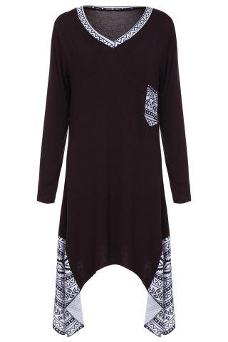 Shops Vintage V-Neck Printed Long Sleeved Irregular T-Shirt Dress