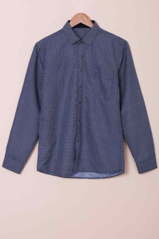 Hot Long Sleeves Checked Single Breasted Shirt For Men DEEP BLUE XS