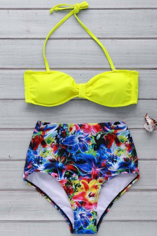 Online Sexy Halter Neck Printed High Waist Bowknot Bikini Set For Women