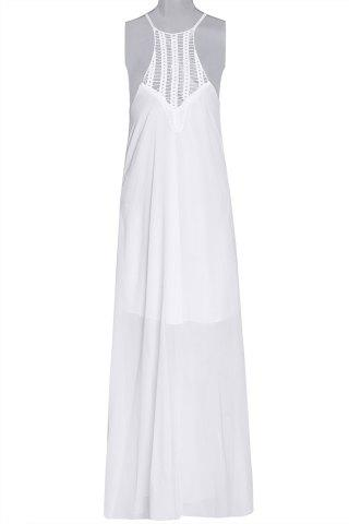 Round Collar Sleeveless Solid Color Cut Out Maxi Dress