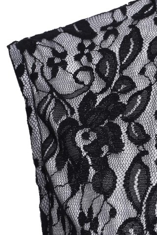 Discount Sleeveless Long Lace Evening Prom Dress - XL BLACK Mobile