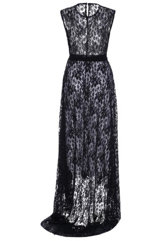Online Sleeveless Long Lace Evening Prom Dress - XL BLACK Mobile