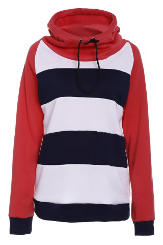 Latest Casual Hooded Long Sleeve Drawstring Striped Hoodie For Women RED M