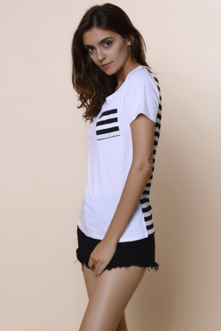 Hot Casual Scoop Neck Striped Short Sleeve Loose-Fitting T-Shirt For Women - M WHITE Mobile