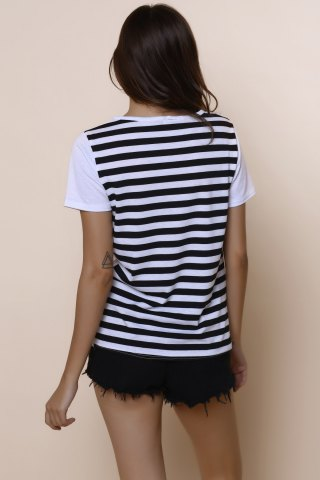 Outfit Casual Scoop Neck Striped Short Sleeve Loose-Fitting T-Shirt For Women - M WHITE Mobile