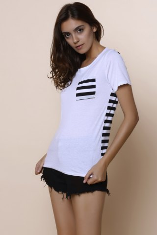Best Casual Scoop Neck Striped Short Sleeve Loose-Fitting T-Shirt For Women - M WHITE Mobile