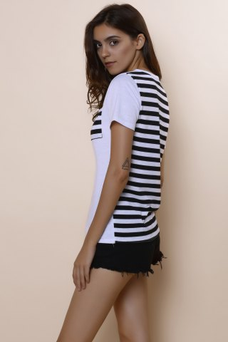 Cheap Casual Scoop Neck Striped Short Sleeve Loose-Fitting T-Shirt For Women - M WHITE Mobile