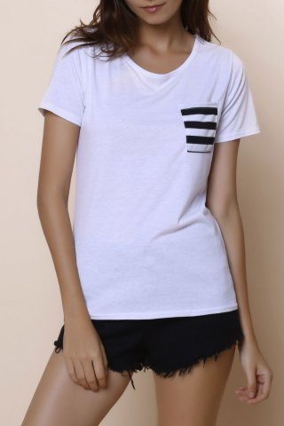 Online Casual Scoop Neck Striped Short Sleeve Loose-Fitting T-Shirt For Women WHITE S