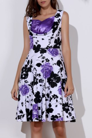 Latest Vintage Sweetheart Neck Floral Print Sleeveless Ball Gown Dress For Women PURPLE S