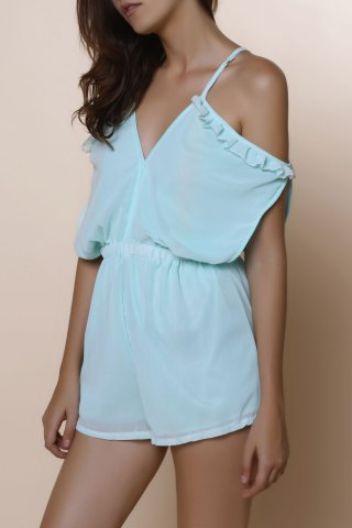 Chic Dew Shoulder Flounced Short Romper MINT GREEN S