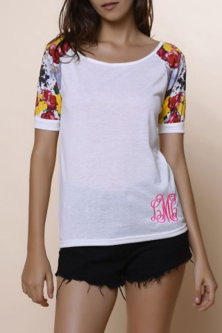 Shops Stylish Scoop Collar Short Sleeve Spliced Printed Women's T-Shirt - M WHITE Mobile