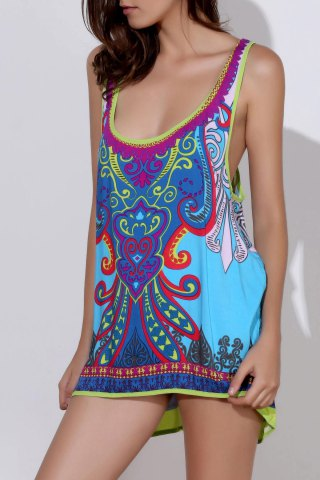 Best Ethnic Style Scoop Neck Printed Asymmetrical Women's Tank Top