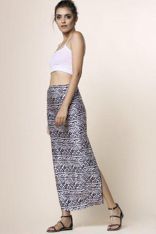 Chic Cami Top and High Waisted Printed Skirt - L BLACK Mobile
