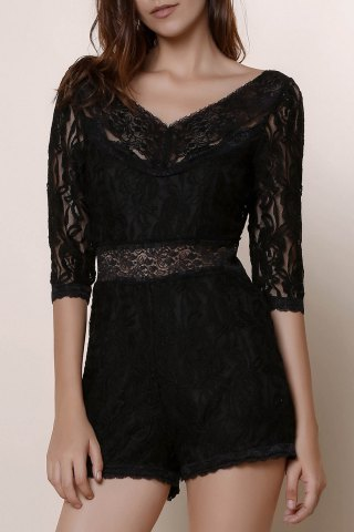 Sale Trendy V-Neck 3/4 Sleeve See-Through Lace Romper For Women BLACK M