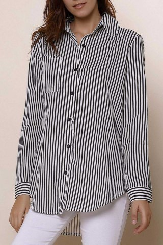 Outfit Long Sleeve Striped Button Up Shirt