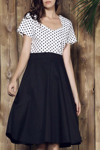 Online Sweetheart Neck Polka Dot Tea Length Dress