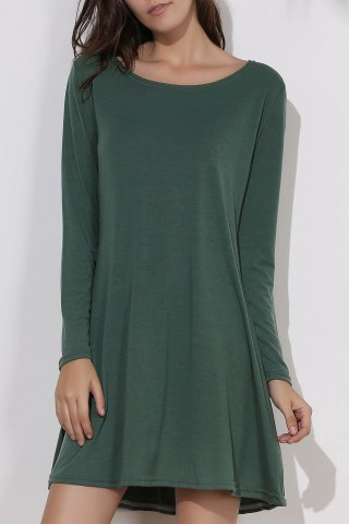 Buy Simple Round Collar Long Sleeve  Dress GREEN ONE SIZE(FIT SIZE XS TO M)