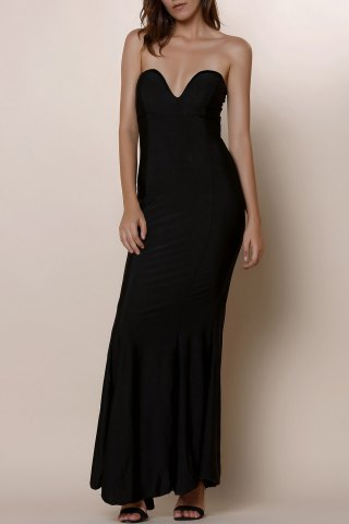Trendy Strapless Bodycon Bandeau Maxi Mermaid Dress