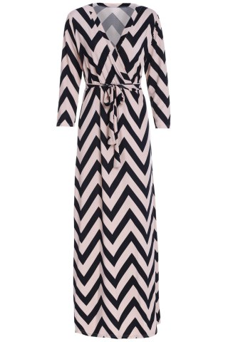 Chic Plunging Neck 3/4 Sleeve Chevron Wrap Maxi Dress BLACK S