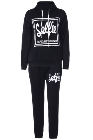 Fashion Active Hooded Long Sleeve Letter Printed Hoodie and Sweat Pants Suit For Women