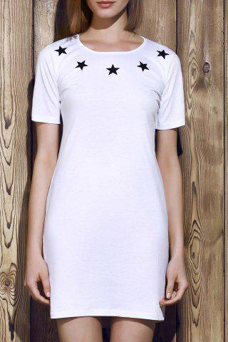 Cheap Round Neck Letter Pattern Hollow Out Short Sleeve Dress For Women WHITE XL