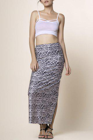 Fashion Cami Top and High Waisted Printed Skirt BLACK S