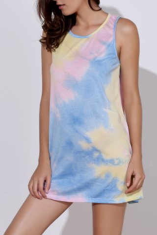 Outfits Sexy Round Neck Sleeveless Tie Dye Women's Dress COLORMIX S