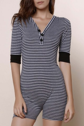 Fashion Women's Stylish V-Neck Short Sleeve Striped Romper STRIPE S