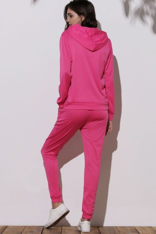 Outfit Cute Hooded Emoji Printed Pullover Hoodie and Elastic Waist Pants Twinset For Women - S ROSE Mobile