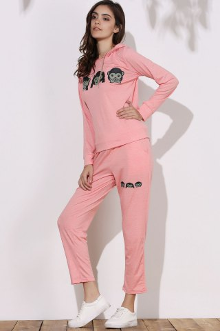 Cheap Cute Hooded Emoji Printed Pullover Hoodie and Elastic Waist Pants Twinset For Women - S PINK Mobile