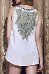 Sexy V-Neck Sleeveless Hollow Out Spliced Women's Tank Top - WHITE