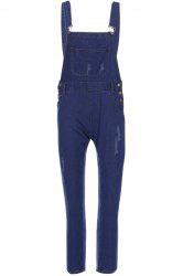 Casual Style Solid Color Straight Leg Women's Denim Overalls - BLUE