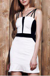 Sexy Spaghetti Strap Sleeveless Spliced Hit Color Women's Dress - WHITE S