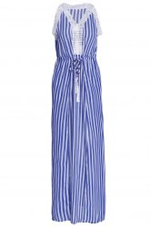 Sleeveless Drawstring Vertical Striped Maxi Dress